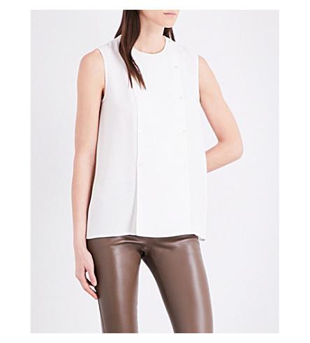 JOSEPH Bell matt-silk blouse (021off+white