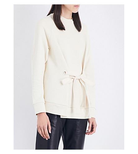 JOSEPH Eyelet-tie cotton-jersey sweatshirt (040ecru