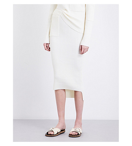 JOSEPH Slim-fit ribbed-knit skirt (076bone