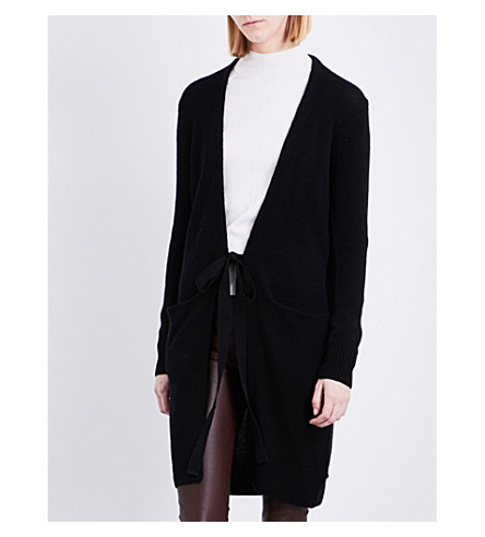 JOSEPH Self-tie knitted cashmere cardigan (010black
