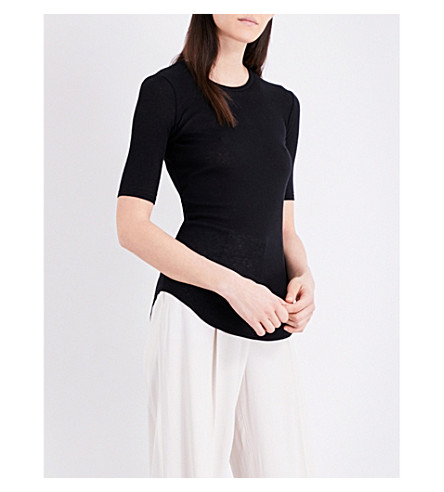 JOSEPH Ribbed cotton and cashmere-blend T-shirt (010black