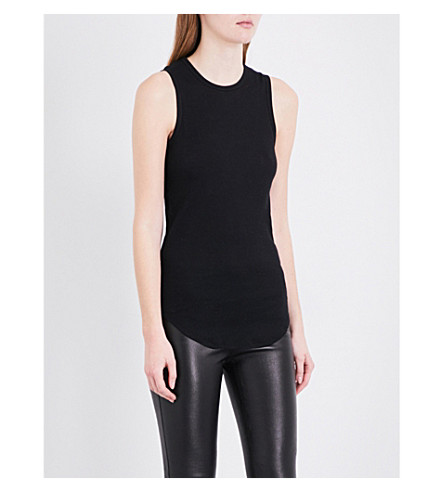 JOSEPH Ribbed cotton and cashmere-blend top (010black