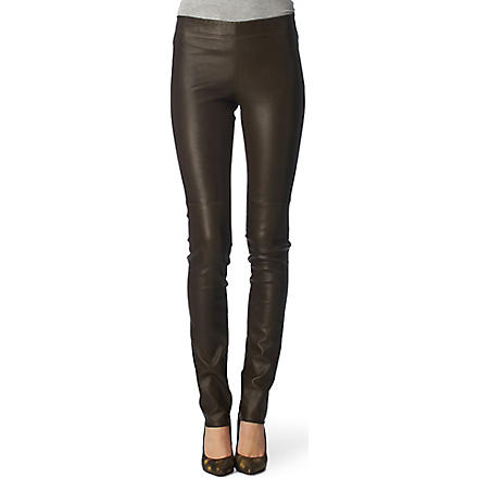 JOSEPH Leather-front leggings (Khaki