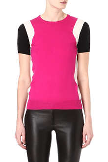 JOSEPH Colour-blocked cashmere top
