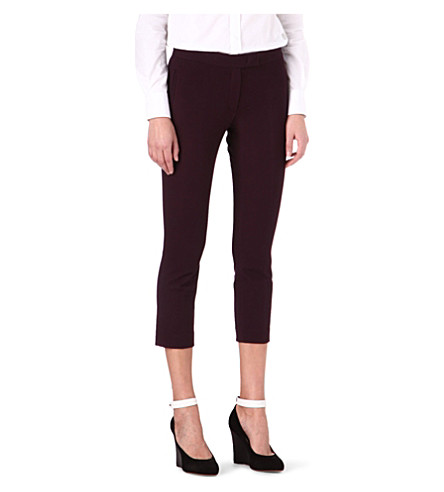JOSEPH New Queen Gabardine cropped trousers (Burgundy