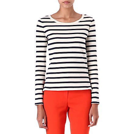JOSEPH Nautical long-sleeved top (Ecru/navy