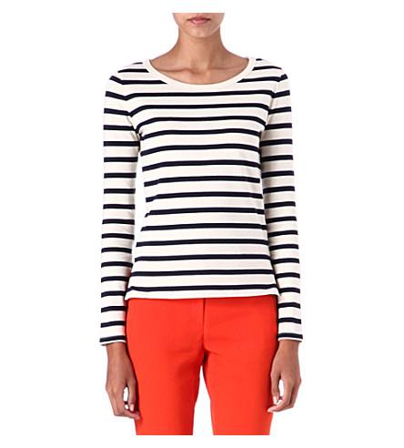 JOSEPH Nautical long-sleeved top (Ecru/navy