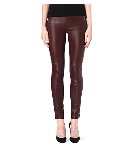 JOSEPH Angel leather and gabardine trousers (Burgundy