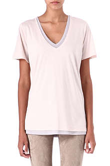 JOSEPH Double-layered v-neck t-shirt