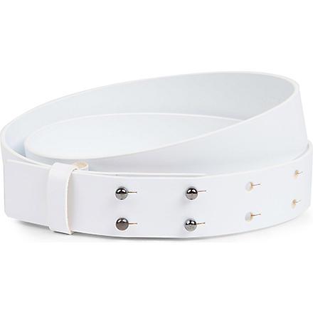 JOSEPH Two line leather belt (White
