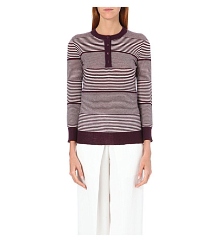 JOSEPH Round neck cashmere jumper (526 burgundy/ecru