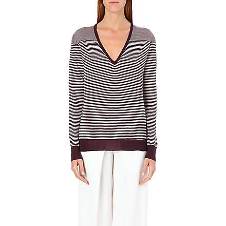 JOSEPH Stripe cashmere jumper (526 burgundy/ecru