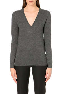 JOSEPH V-neck block cashmere top