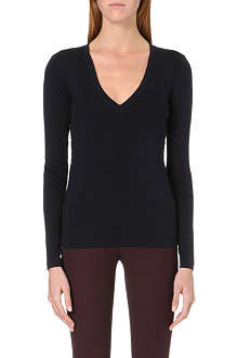 JOSEPH V-neck stretch-silk top