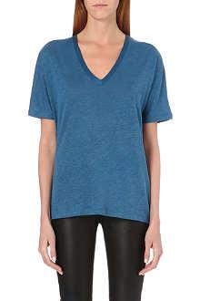 JOSEPH V-neck linen-silk t-shirt
