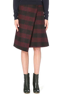 JOSEPH Charlie blurred check wool skirt