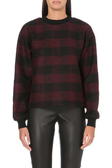 JOSEPH Sienna checked wool-blend jumper