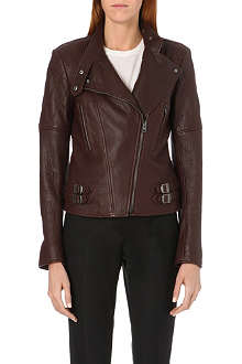 JOSEPH Bubble leather biker jacket