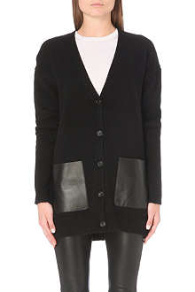 JOSEPH Leather-pocket cashmere cardigan