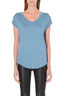 JOSEPH V-neck roll sleeve t-shirt