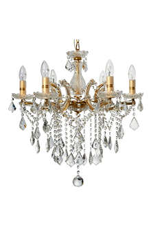 LIGHT SHOP Florence crystal six light chandelier gold