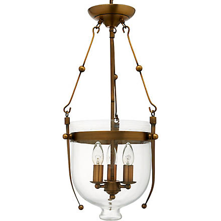 LIGHT SHOP Roberto glass bowl three light lantern antique brass