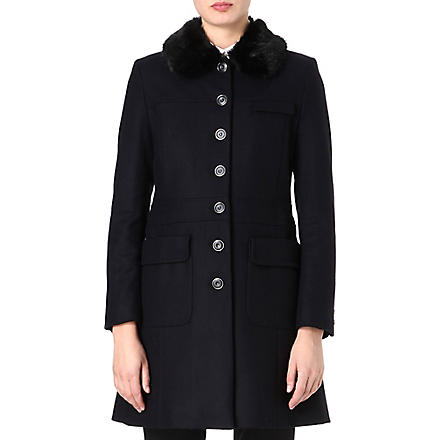 FRENCH CONNECTION Glorious wool long-sleeve coat (Twinkle/ black fur