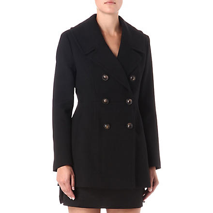 FRENCH CONNECTION Art double-breasted coat (Black