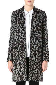 FRENCH CONNECTION Teddy leopard-print faux-fur coat