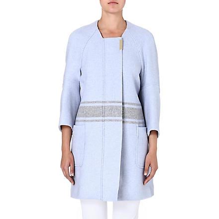 FRENCH CONNECTION Skyline oversized wool coat (Blue/grey