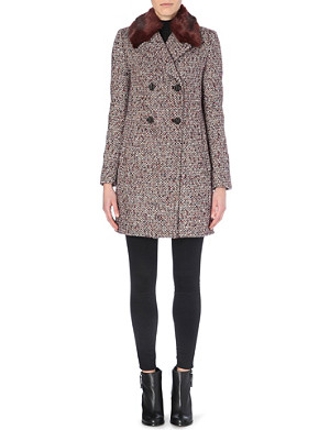 FRENCH CONNECTION Moscow faux fur-collar tweed coat