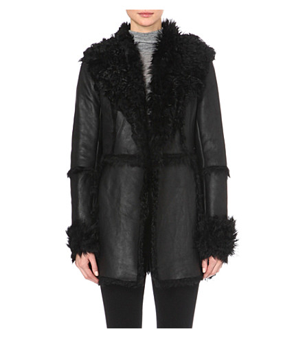 FRENCH CONNECTION Toscana sheepskin coat (Black