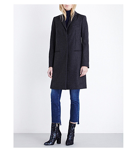FRENCH CONNECTION Platform cashmere-blend coat (Grey