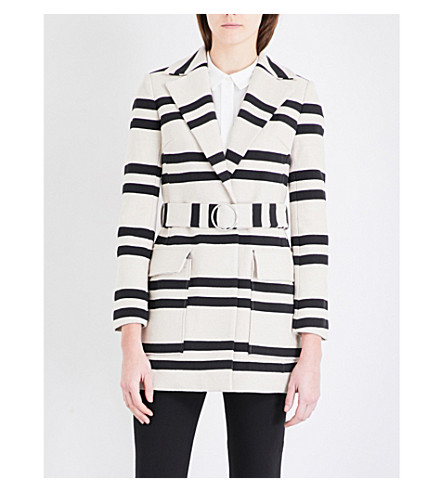 FRENCH CONNECTION Escher striped cotton-blend mac (Clssc+crm/nocturnal