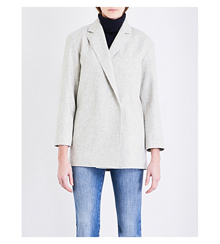FRENCH CONNECTION Platform oversized wool-blend coat (Light+grey+mel