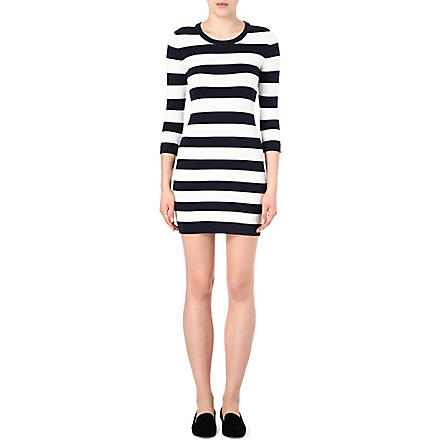 FRENCH CONNECTION Stretch-knit striped dress (Nocturnal/off white