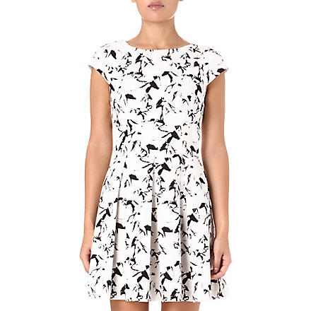 FRENCH CONNECTION Hatched Horses dress (White