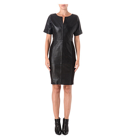FRENCH CONNECTION Treasure stretch-leather dress (Black
