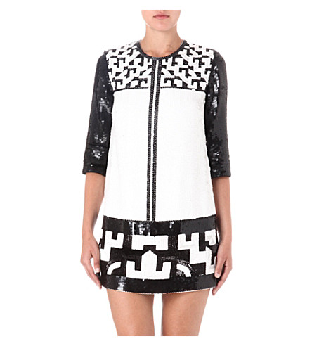 FRENCH CONNECTION Geomaze beaded tunic dress (Black/white