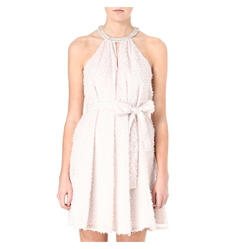 FRENCH CONNECTION Halterneck organza textured dress (Snowball