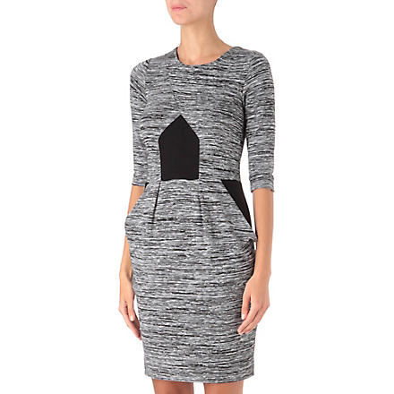 FRENCH CONNECTION City Space panelled dress (Grey space dye/black