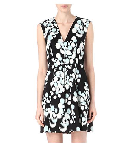 FRENCH CONNECTION Open palette cotton-blend dress (Blk/bakelitebluemult