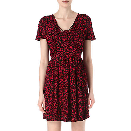 FRENCH CONNECTION Amakhala flared jersey dress (Plumpink/black