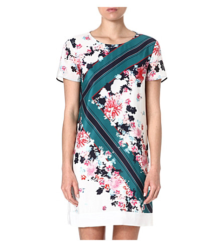 FRENCH CONNECTION Belle garden silk dress (White/multi