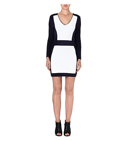 FRENCH CONNECTION Textured bodycon dress (Utilitybl/wntrwhte