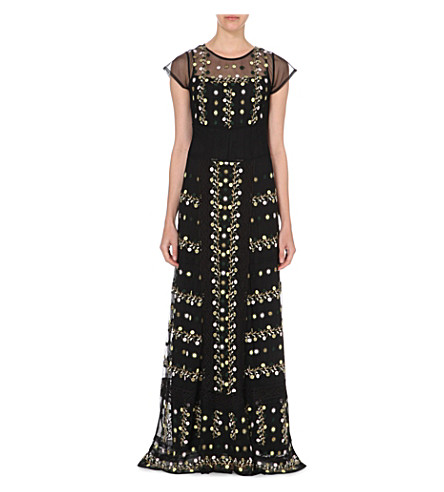 FRENCH CONNECTION Springfield embroidered maxi dress (Black