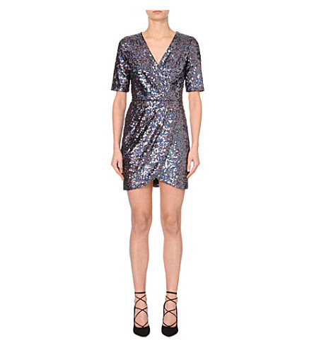 FRENCH CONNECTION Lunar Sparkle sequinned wrap dress (Grey