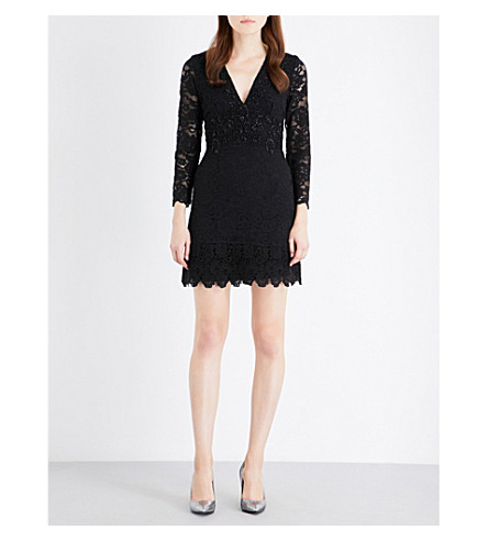 FRENCH CONNECTION Emmie embellished lace dress (Black