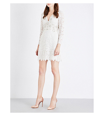 FRENCH CONNECTION Emmie embellished lace dress (Daisy+white