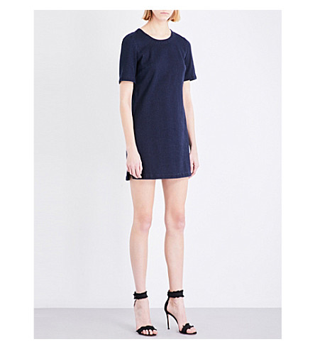 FRENCH CONNECTION Reptile-print cotton-blend dress (Blue+black+indigo